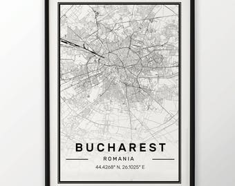 Bucharest City Map Print Modern Contemporary poster in sizes 50x70 fit for Ikea frame 19.5 x 27.5 All city available London, New York Paris