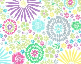 Colourful Flora Pop Floral Flowers Bright Fun Metre Cotton Fabric by Michael Miller (UK)