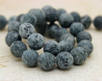 Dye Agate (Gray) Matte Round Gemstone Beads