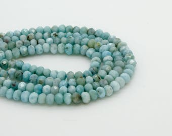 Natural Larimar Faceted Rondelle Natural Gemstone Bead Beads Loose Stone (3mm x 2mm)