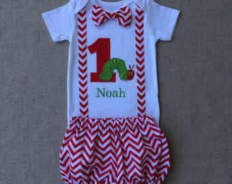 The Very Hungry Caterpillar First Birthday Onesie with diaper cover, The Very Hungry Caterpillar Onesie with suspenders and bow tie