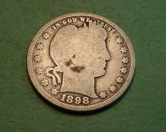 Barber Quarter 1898 Good<> # ET3873