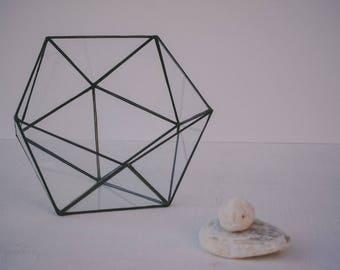 glass terrarium, geometric vase, wedding decor, florarium, icosahedron