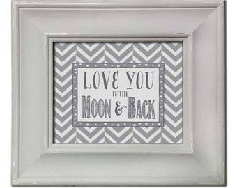 Gray Love You to the Moon and Back - Framed Art