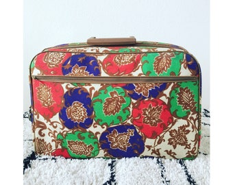 Vintage Floral Canvas Small Suitcase