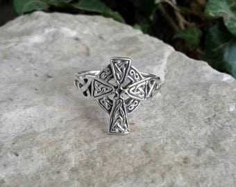 Cross Ring, Solid Sterling Silver Celtic Cross Ring, Large Oxidized Celtic Cross Ring, Celtic Jewelry