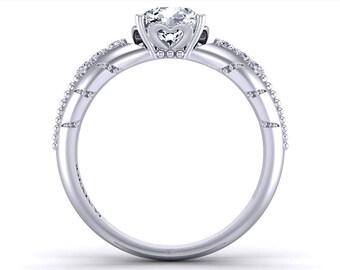 Natural diamond Engagement ring 14K gold, SOLITAIRE designer, Unique, nature inspired 1265