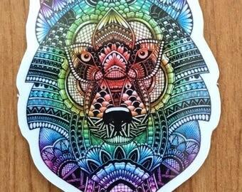 Zentangle Wolf--- Sticker