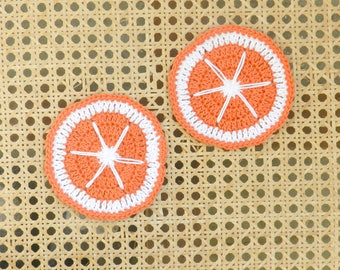 coaster crochet glass, orange, gift, home, home decor