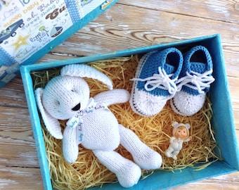 Newborn Gift Set, Knitted Bunny Rabbit, Newborn Crochet Booties, First Birthday Gift, Baby Boy Gift, Stuffed animals, First Toy, Softie