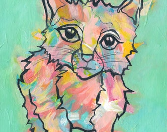 Kitten art, giclee print, colorful animal painting, kitty art, nursery decor with flair, fun children art, baby gift, baby cat, pink kitten