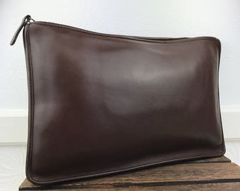 COACH 1121 NYC Brown Leather Portfolio Zipper Top Bag