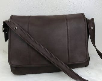 Coach Brown Leather Briefcase Messenger Crossbody Laptop Bag