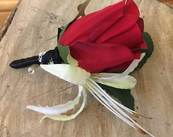 Red Rose buttonhole, luxury handmade artificial buttonhole, red rose corsage, red and black wedding flowers, artificial wedding flowers.