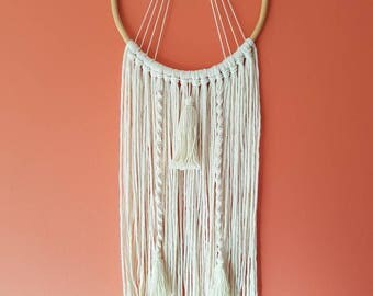 Natural Modern Macrame Dreamcatcher Wall Hanging on a Cane Hoop with Tassels