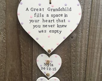 Personalised Great Grandparent Great Grandmother gift present plaque heart