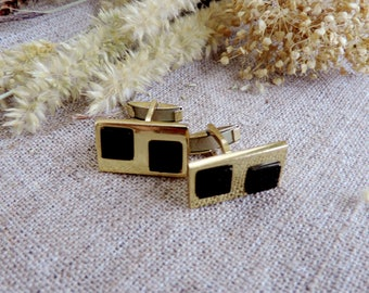 Men's Vintage cufflinks black agate wedding groomsmen cufflinks gift man business cufflinks 60s70 Soviet Union jewellery rectangular
