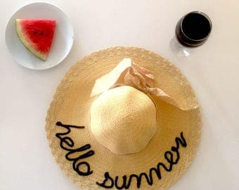 Hello Summer Straw Hat , Summer Hat , Beach Hat , Hat for Beach , Sun Hat , Resort Wear,