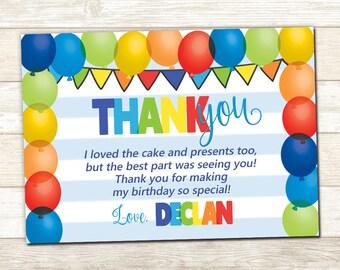 Balloon Thank You Card - Balloon Party Card - Balloon Thank You Card - Balloon Birthday Party