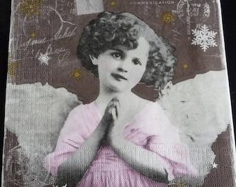 The little girl Angel napkin