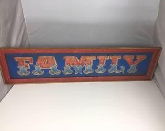 FAMILY Vintage Wood Cabin Sign