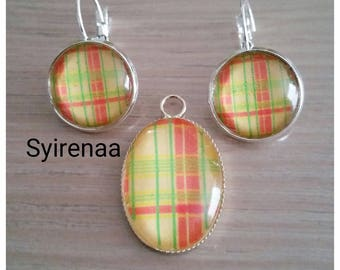 Set earrings and pendant red yellow madras