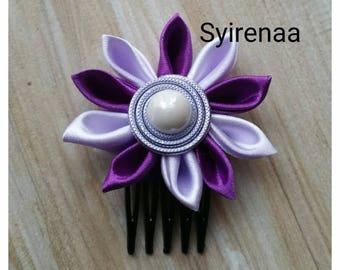 Purple and clear purple kanzashi hair comb