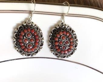 Vintage sterling silver earrings, lapis earrings, gemstone earrings, sterling silver earrings, pearl earrings, sterling silver jewellery,