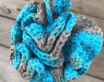 loofah, crochet loofah, cotton yard, wash poof, crochet pouf, bath pouf, bath poof, reusable