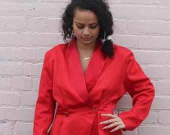 80s Red Disco Peplum Jacket Top