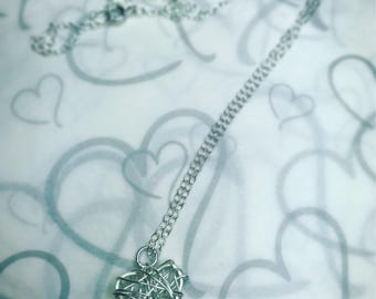 Silver wire wrapped heart pendant necklace