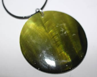 Unusual large green shell pendant necklace