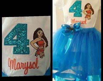 Personalized Birthday Moana Embroidered Shirt and Tutu