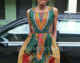 Dashiki dress with pockets , African fabric, Ankara fabric, Women clothing, African print for women, African clothing, African dress