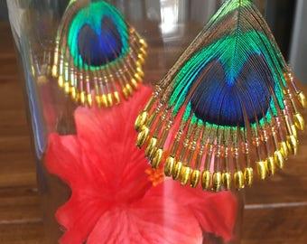 Hand beaded Feather Earrings