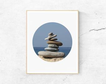 Rock Print, Rock Balancing Print, Minimalist Wall Art, Zen Print, Zen Rocks, Meditation Print, Yoga Print, Zen Art, A3 Print, Stones Print