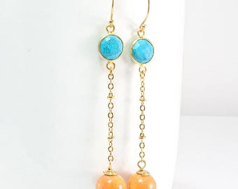 Orange Jade Drops and Turquoise Dangle Earrings