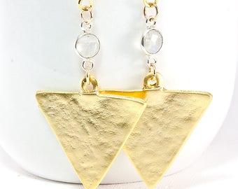 Moonstone Arrow Drop Earrings