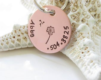 Pet ID Tags - Dandelion - Custom Hand Stamped Copper, One Inch, Dog or Cat - Hand Stamped and Personalized - Kids School Bag Tags
