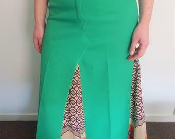70s style, green maxi skirt, 70s maxi, hippie boho clothing, hippie skirt, long skirt, vintage skirt, flared skirt, retro clothing, vintage