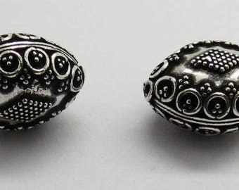 2 Pieces 925 Sterling Silver Bali Beads 18mm