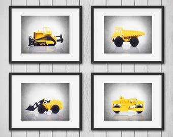 Discount Set of 4 Construction trucks prints, boys room decor, kids room decor, construction decor, nursery decor, nursery wall art