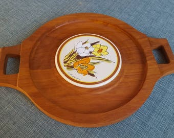 Vintage Teak Cheese Board With a Tile Trivet Made by Goodwood Great for Hosting Your Next Party