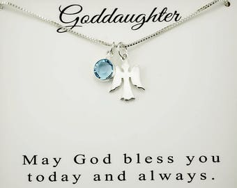 Goddaughter gift Goddaughter necklace Confirmation gift  First holy communion gift Angel necklace,Sterling Silver Goddaughter birthday gift