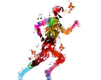 Abstract colorful runner silhouette  with butterflies Artwork Home Decor Print Poster Matt / Silk