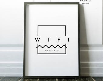 Custom WIFI Sign, guest room sign, Editable Instant Download,  8x10, 5x7, 4x6, 2x3.5  customize, Minimal Wifi Sign, Home Wall Art Decor