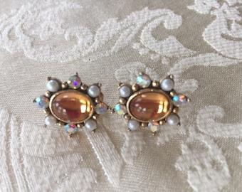 Vintage Avon Screw Back Earrings Faux Amber, Pearl and Rhinestones 1970s
