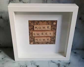 Home Sweet Home Art Picture, White Frame, New Home Gift, Birthday Present, Ready to Ship, Gift, Scrabble Tiles, Handmade