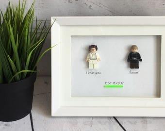 Lego Figure Picture Frame, Geeky Gifts, Nerdy Wedding Gift, Cute Anniversary Gift, Starwars Gift, Bridal Shower Gift, Leia & Luke