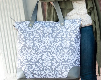 Bridesmaid Gift,Bridesmaid Tote,Girl Travel Bag,Ladies Travel Bag,Tote,Grey Damask Bag,Monogrammed Travel Bag,Ladies Tote,Shoulder Tote Bag